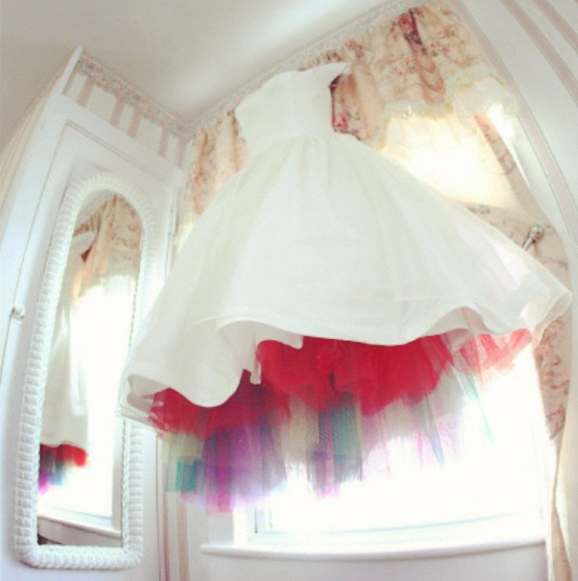 Rainbow Tulle Wedding Dress